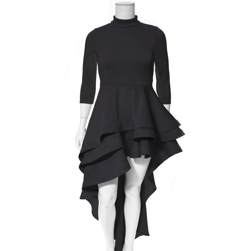 Posh Shoppe: Plus Size Ruffled Hi Low Dress, Black Dress