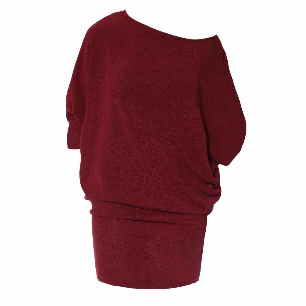 Posh Shoppe: Plus Size Bias Draped Sweater Dress, Burgundy Dress