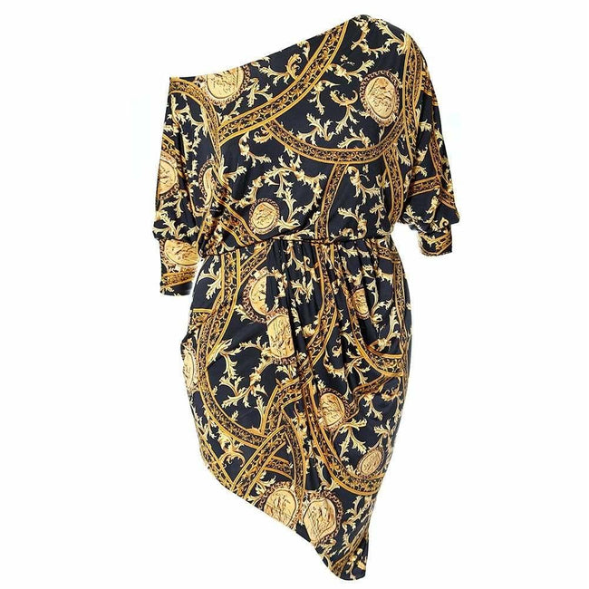 Plus Size Chain Print Bias Wrap Dress