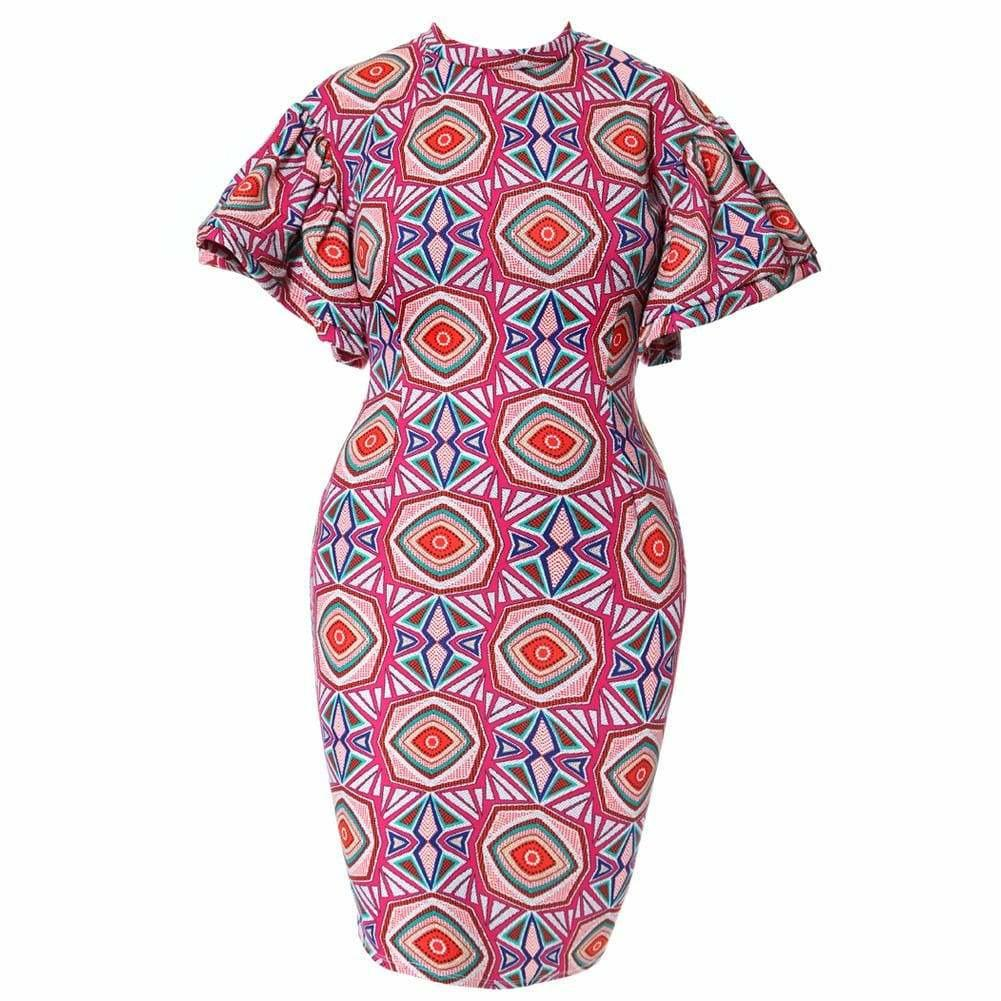 Plus Size Flutter Sleeve Midi Dress, Geometric Print
