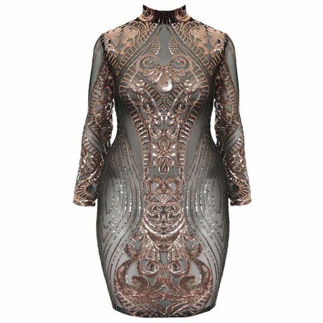 Plus Size Rose Gold Sequin Mesh Mini Dress