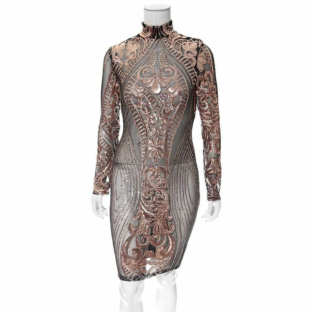 Posh Shoppe: Plus Size Rose Gold Sequin Mesh Mini Dress Dress