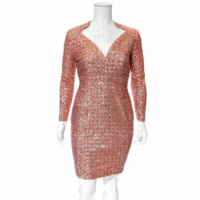 Plus Size Regal Sequins Mini Dress, Rose Gold