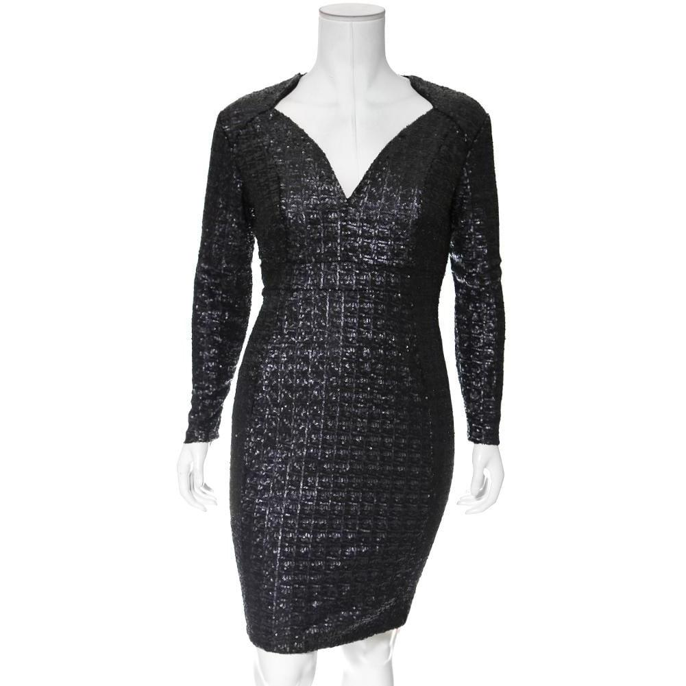 Posh Shoppe: Plus Size Regal Sequins Mini Dress, Matte Black Dress