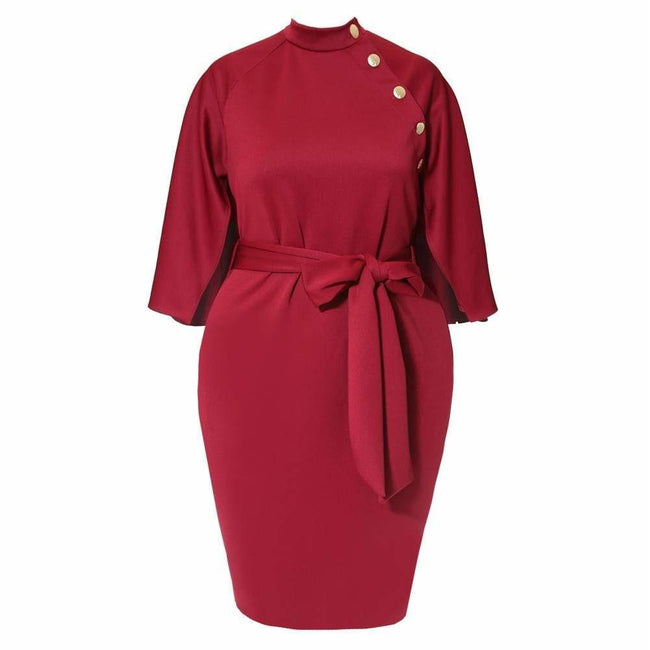 Plus Size Caped London Dress, Burgundy