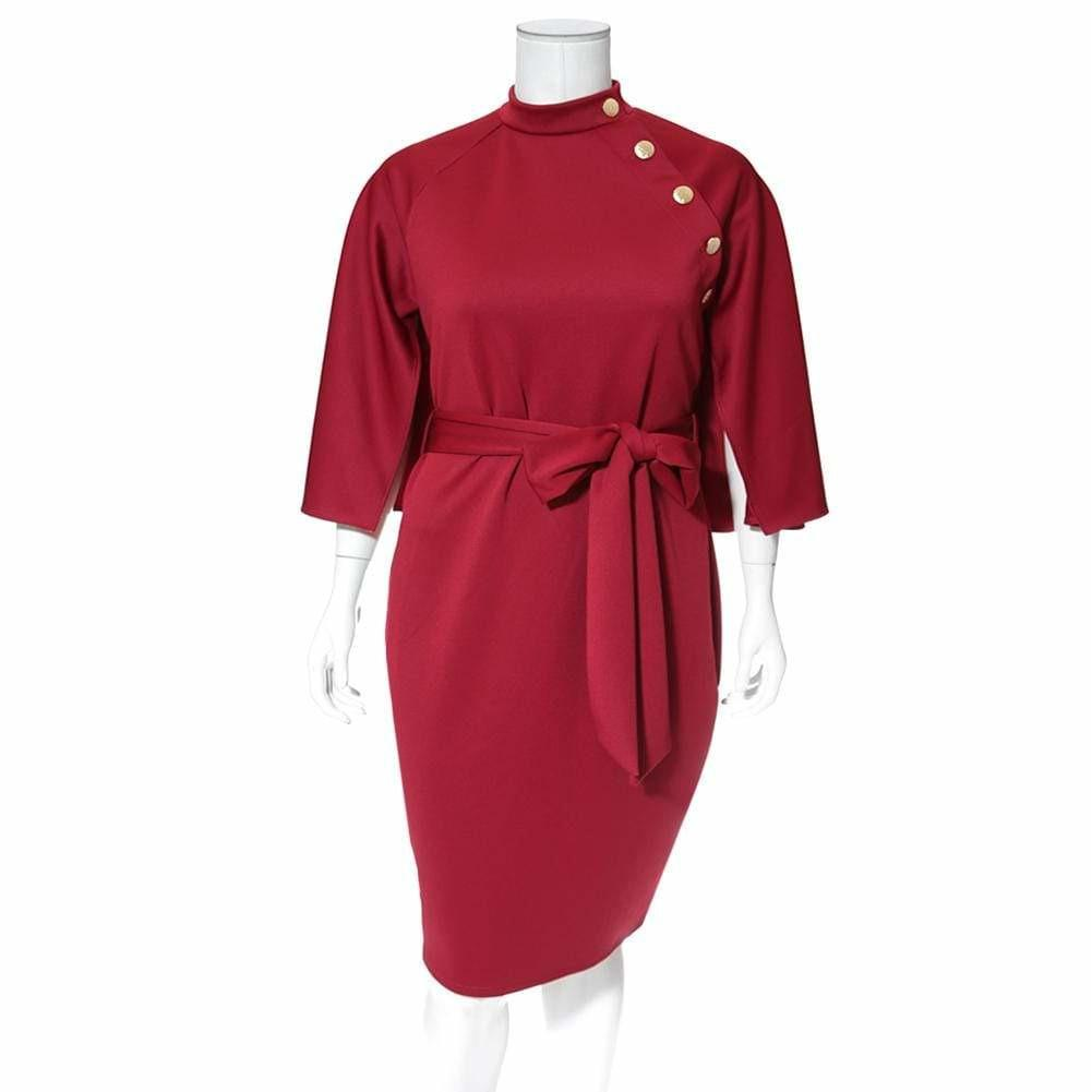 Posh Shoppe: Plus Size Caped London Dress, Burgundy Dress