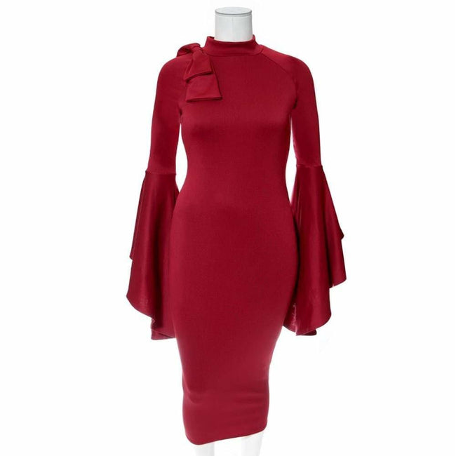 Plus Size Midi Dress with Bell Sleeves and Accent Bow, Burgundy