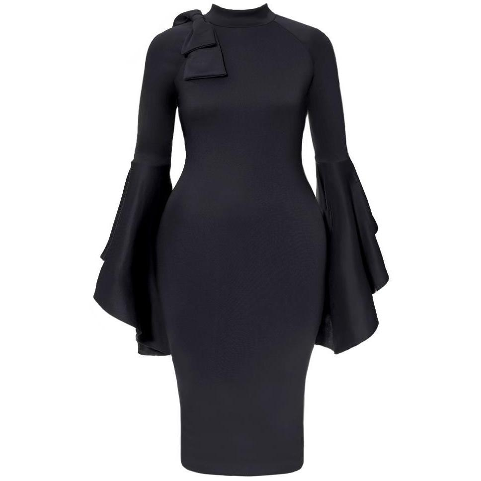 3098c3ed9948 Plus Size Midi Dress with Bell Sleeves and Accent Bow, Black – Posh ...
