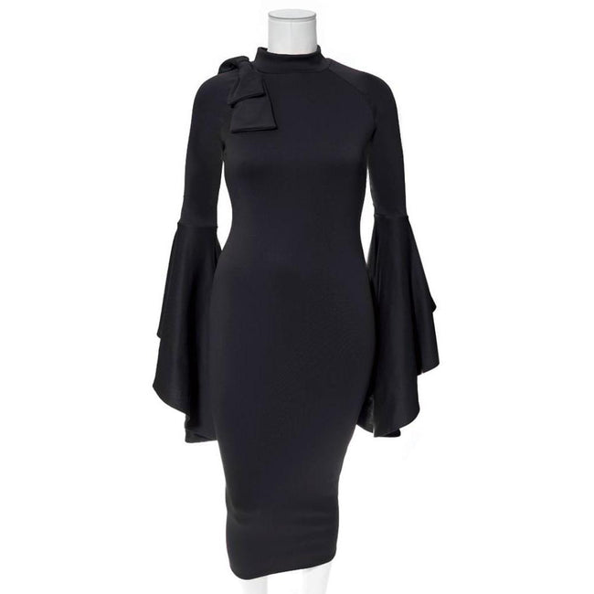 Plus Size Midi Dress with Bell Sleeves and Accent Bow, Black