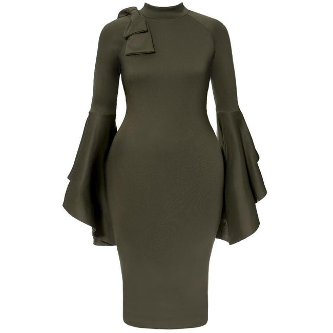 Plus Size Midi Dress with Bell Sleeves and Accent Bow, Olive