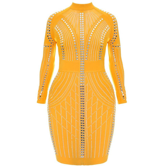 Plus Size Mock Neck Studded Bodycon, Yellow