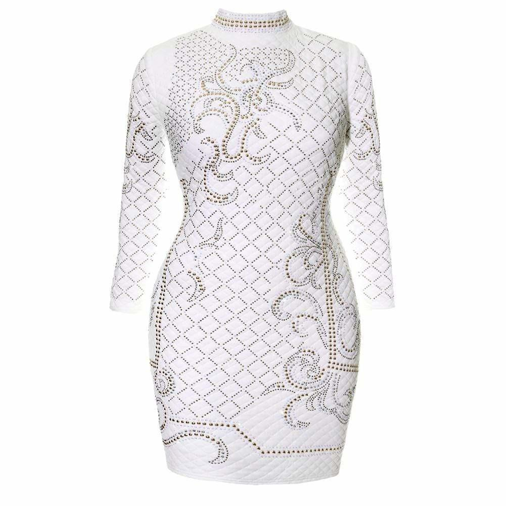 Plus Size Quilted Mock Neck Dress with Stud Embellishment, White