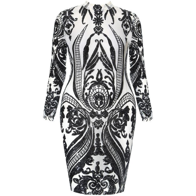 Plus Size Sequin Tattoo Sheer Midi Dress