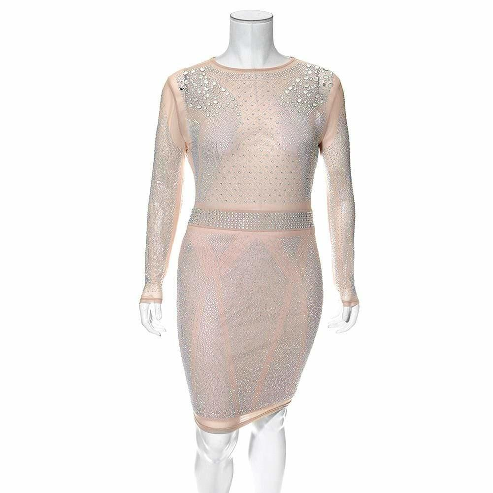 Plus Size Jeweled Sheer Nude Bodycon Dress