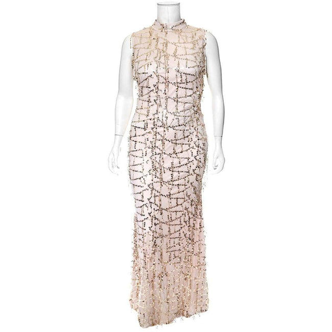 Plus Size Sequins Fringe Maxi Dress, Nude