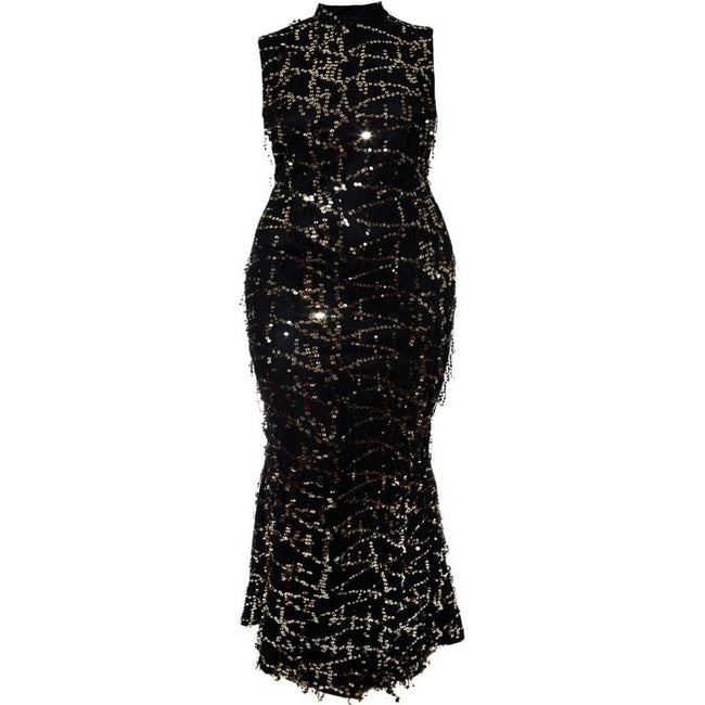 Plus Size Sequins Fringe Maxi Dress, Black