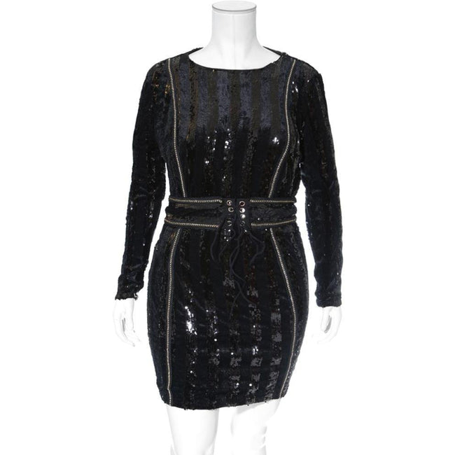 Plus Size Velvet & Sequin Mini with Corset Belt