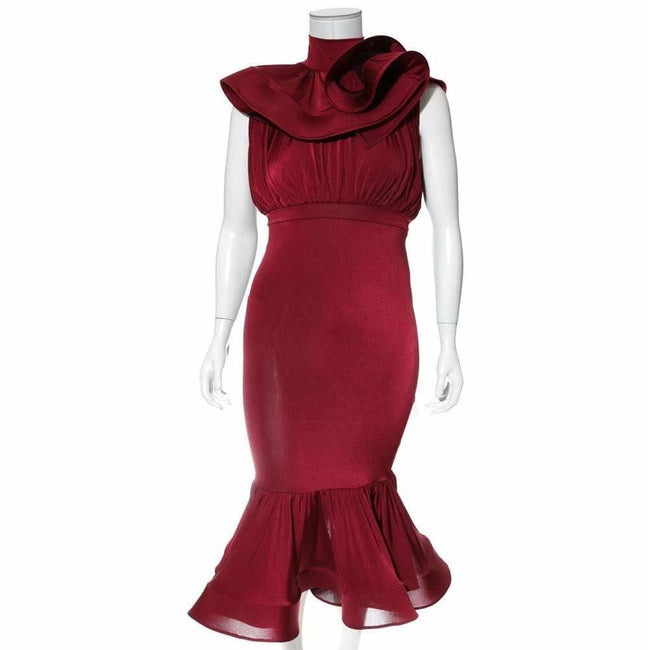Plus Size Ruffle Top Fluted Skirt Midi Dress, Burgundy