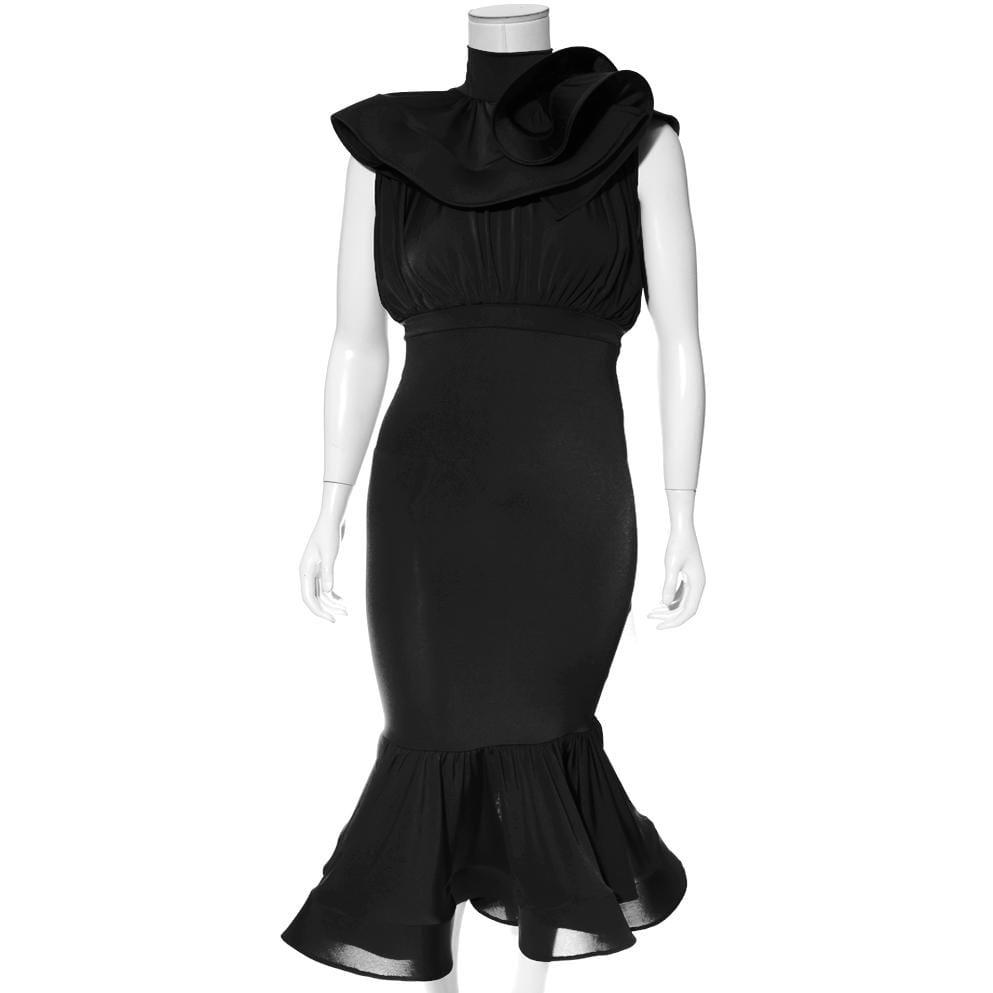 Plus Size Ruffle Top Fluted Skirt Midi Dress, Black