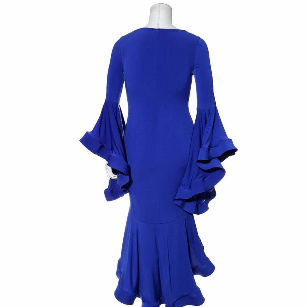 Posh Shoppe: Plus Size Flounce Bell Sleeve Dress, Cobalt Dress