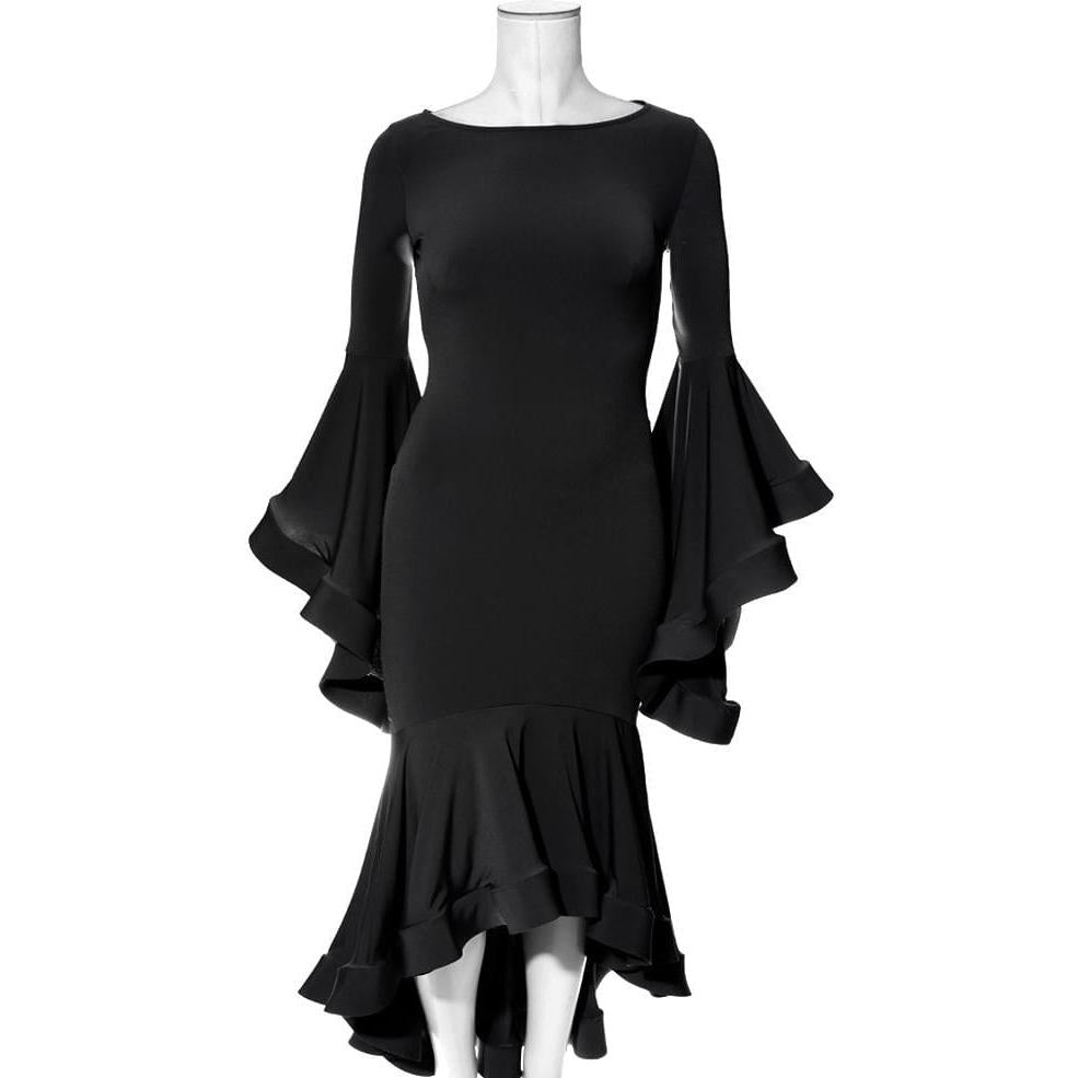 Plus Size Flounce Bell Sleeve Dress, Black