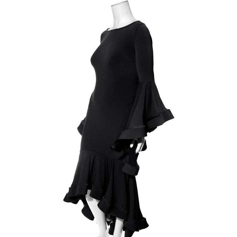 Posh Shoppe: Plus Size Flounce Bell Sleeve Dress, Black Dress