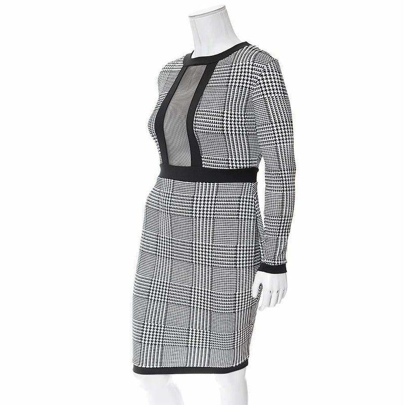 Posh Shoppe: Plus Size Plaid Midi Dress with Mesh Insert Dress