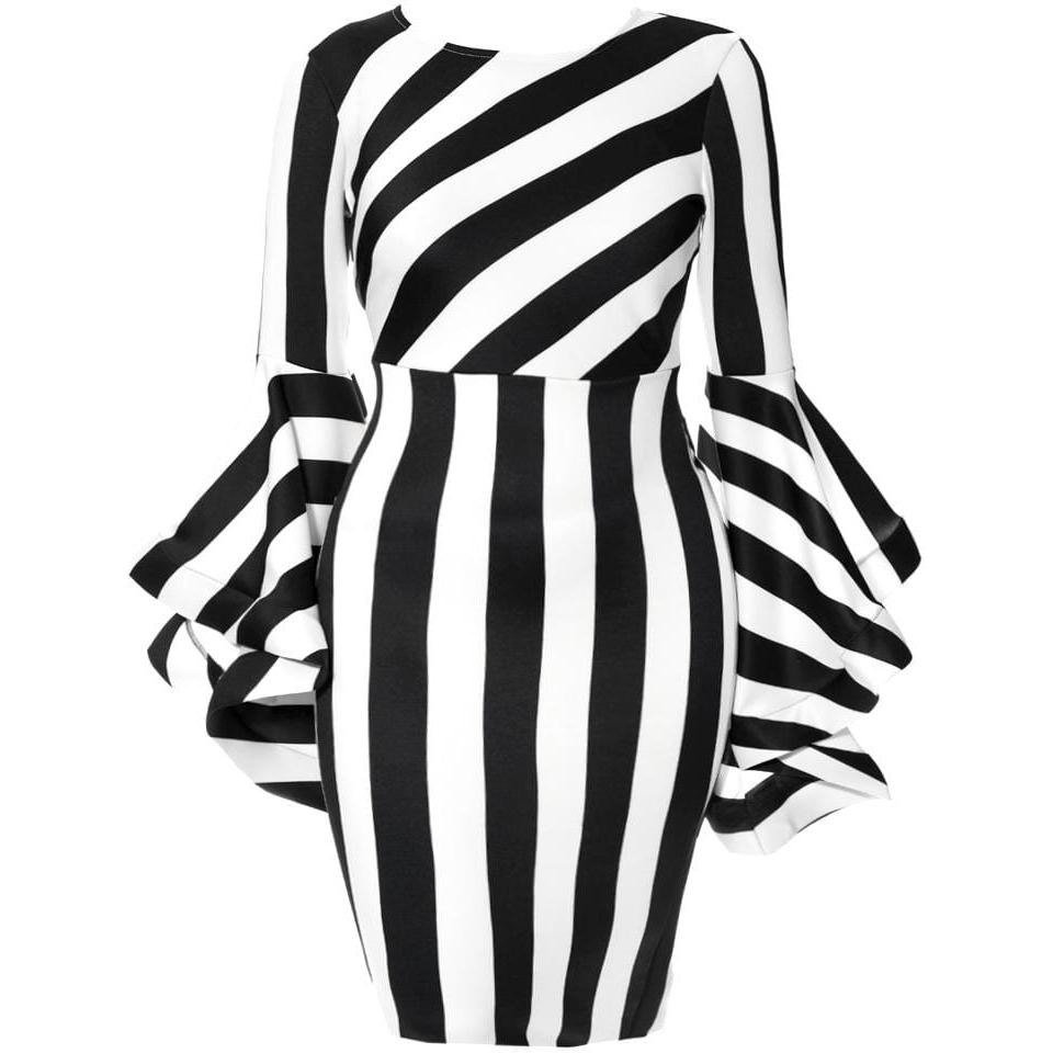 Plus Size Statement Bell Sleeves Midi Dress Black And White Stripes