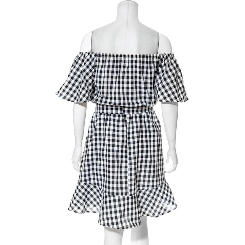 Posh Shoppe: Plus Size Off Shoulder Gingham Dress, Black Dress