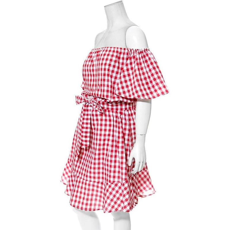 Posh Shoppe: Plus Size Off Shoulder Gingham Dress, Red Dress