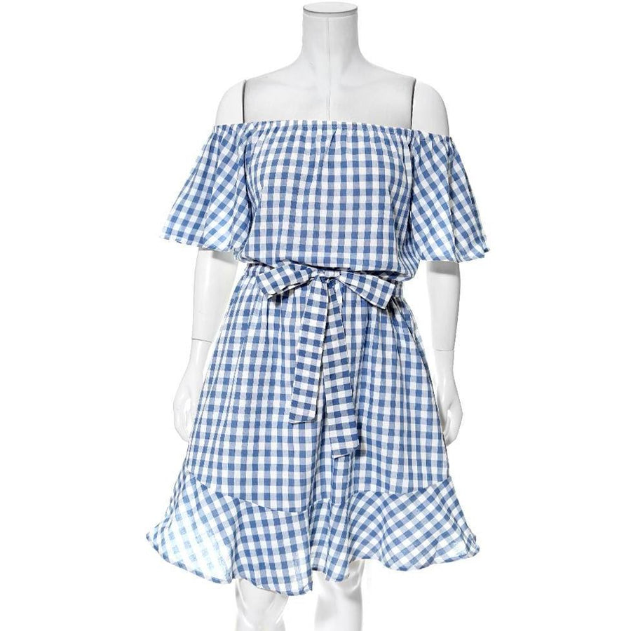 0b7f83206ef Plus Size Off Shoulder Gingham Dress