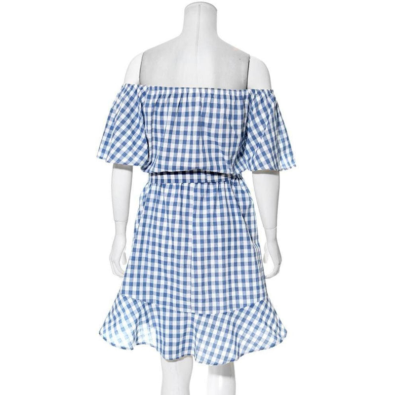 Posh Shoppe: Plus Size Off Shoulder Gingham Dress, Denim Blue Dress