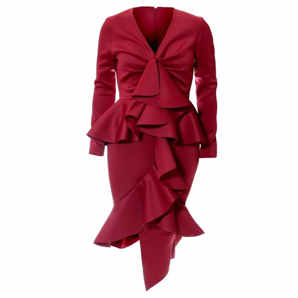 Posh Shoppe: Plus Size Statement Frill Midi Dress, Burgundy Dress