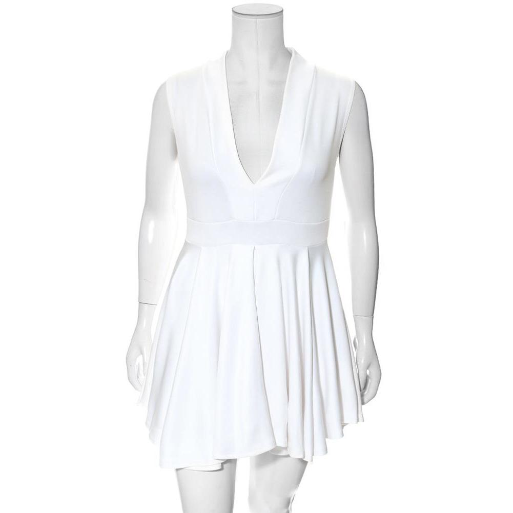 Posh Shoppe: Plus Size V Front Skater Mini, White Dress