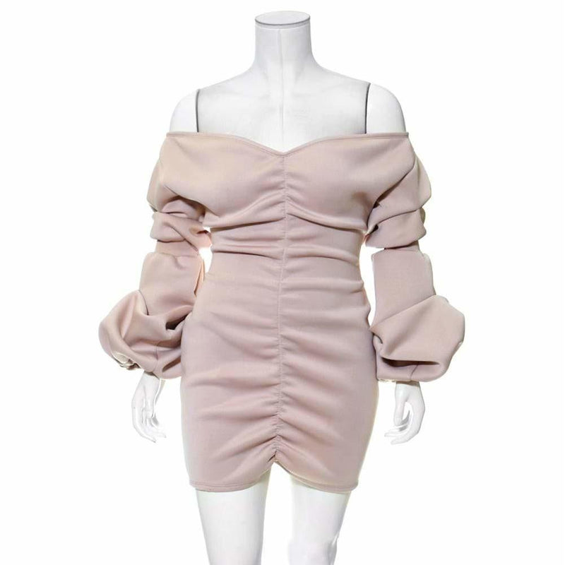 Posh Shoppe: Plus Size Off Shoulder Puff Sleeve Dress, Dusty Rose Dress