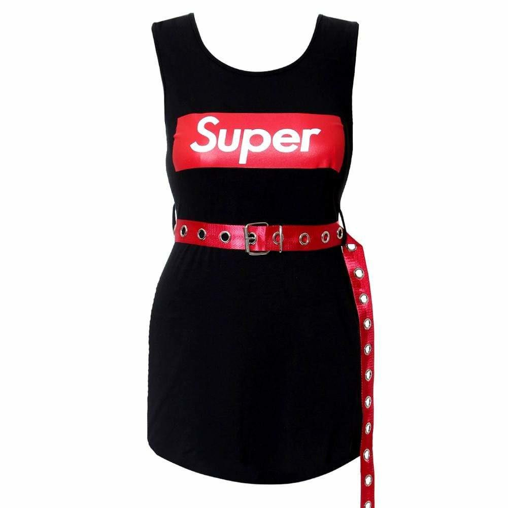 Plus Size Mini Tank Dress with Belt, Black