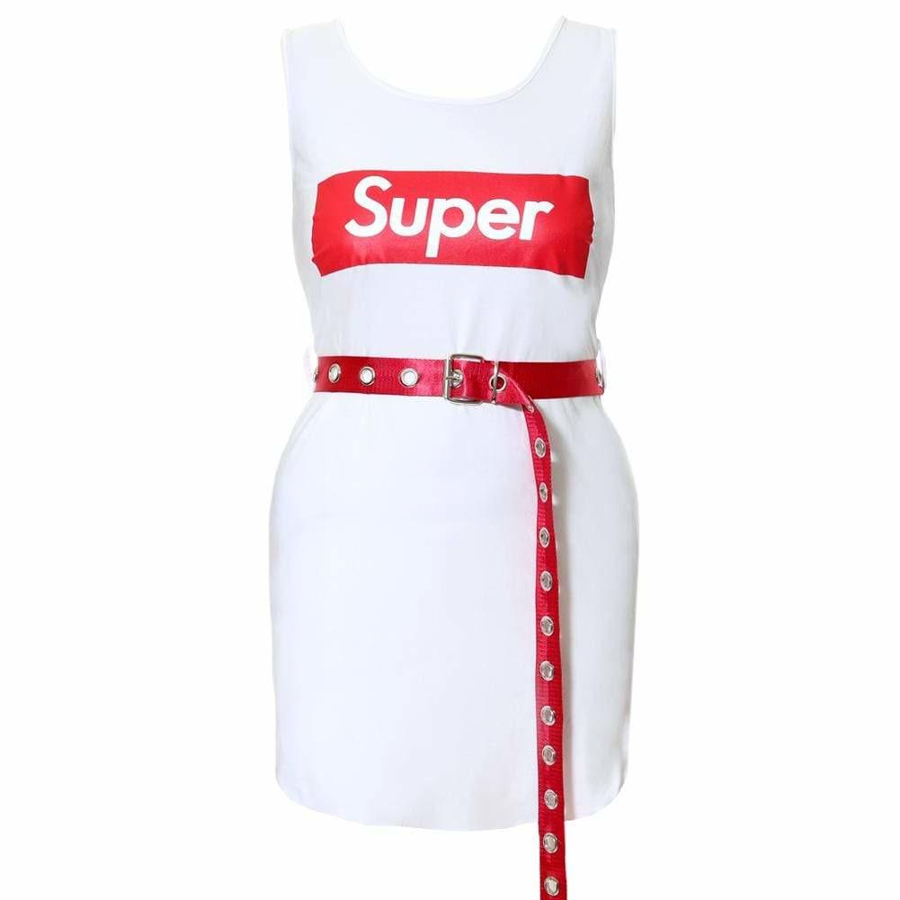 Plus Size Mini Tank Dress with Belt, White