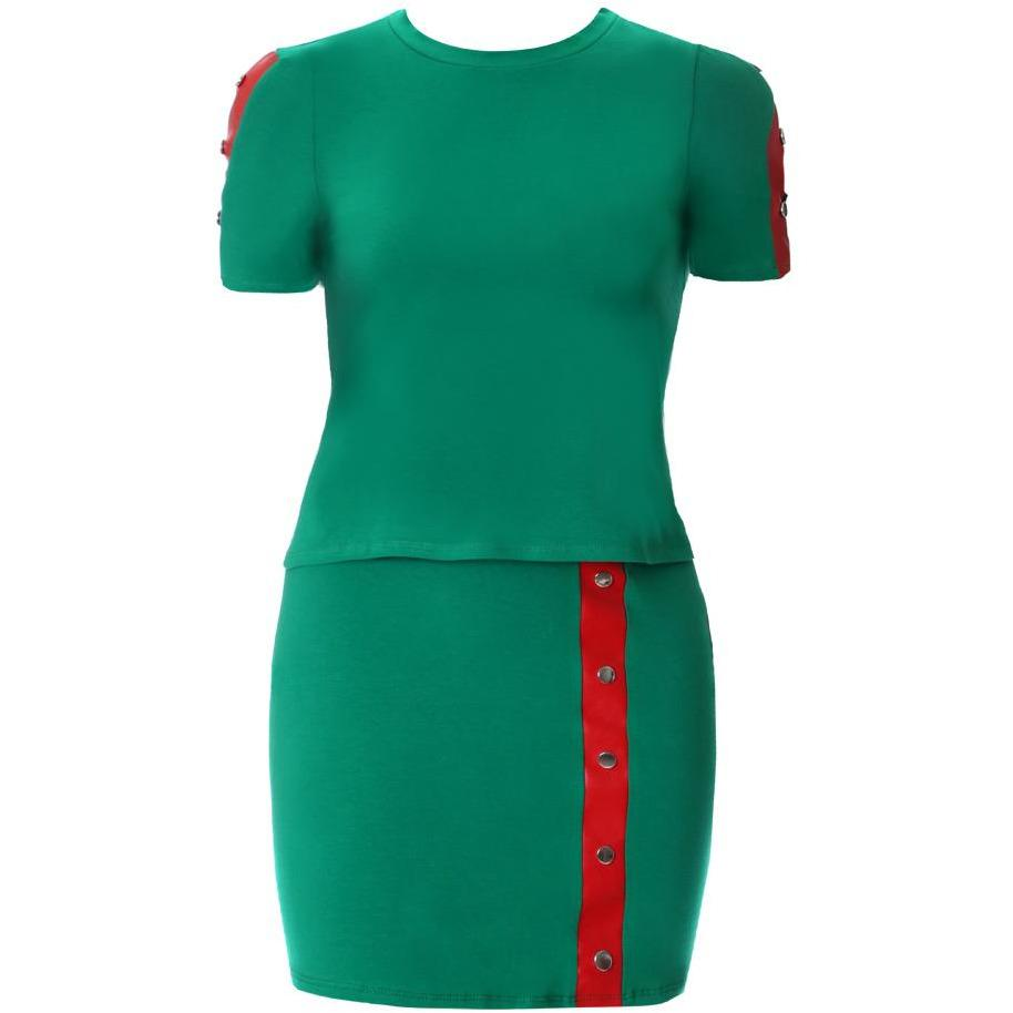 Plus Size Leather Trim 2 Piece Top and Mini Set, Green & Red – Posh ...