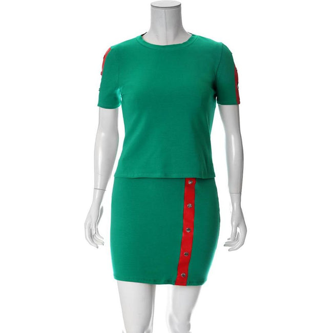Plus Size Leather Trim 2 Piece Top and Mini Set, Green & Red