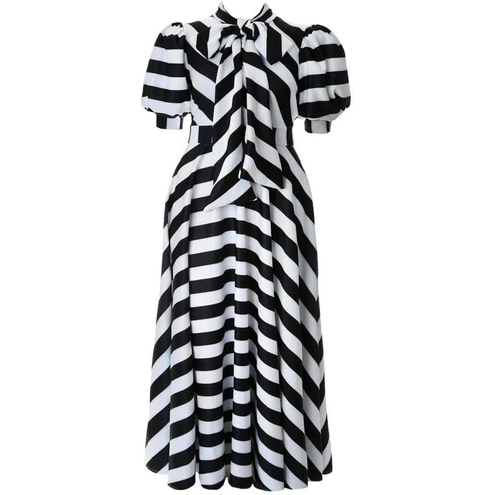 Plus Size Puff Short Sleeve Maxi Dress with Tie Neck