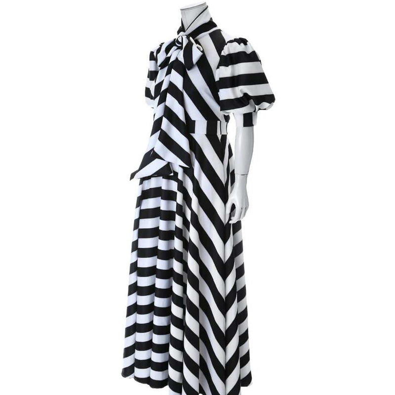 Posh Shoppe: Plus Size Puff Short Sleeve Maxi Dress with Tie Neck Dress