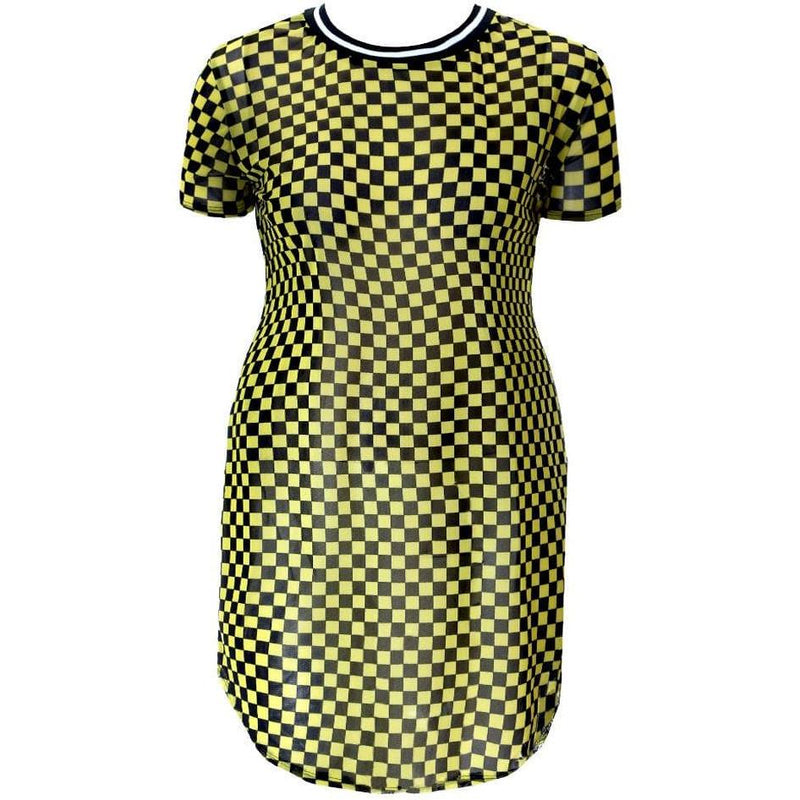 Plus Size Sporty Checkered Sheer Mini, Yellow