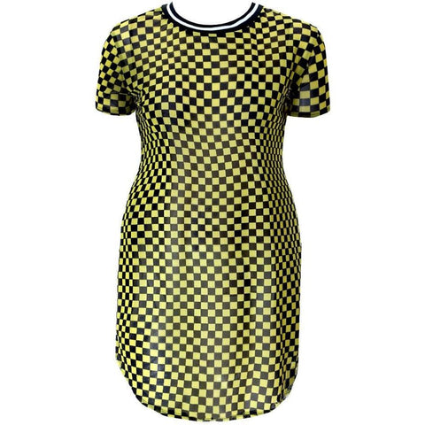 Plus Size Sporty Checkered Sheer Mini, Red
