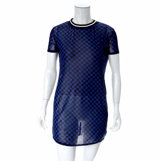 Plus Size Sporty Checkered Sheer Mini, Blue