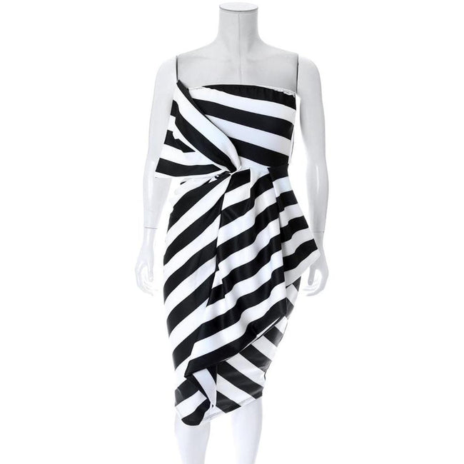 Plus Size Strapless Knot Front Dress, Black and White Stripes