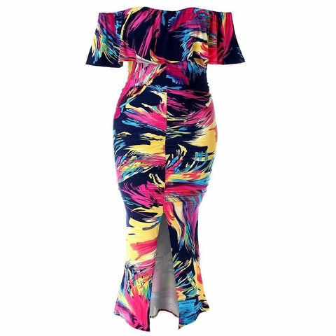 Plus Size 2 Piece Color Block Halter Top and Flare Pants Set, Purple Mix