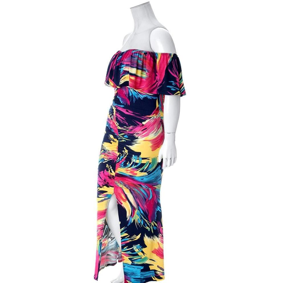 Plus Size Off Shoulder Ruched Maxi, Tropical Punch
