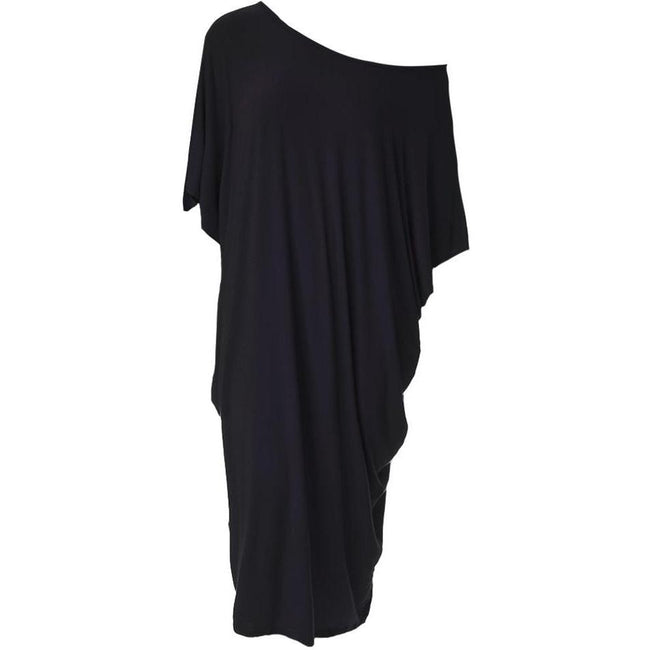 Plus Size Off Shoulder Bias Tunic, Black