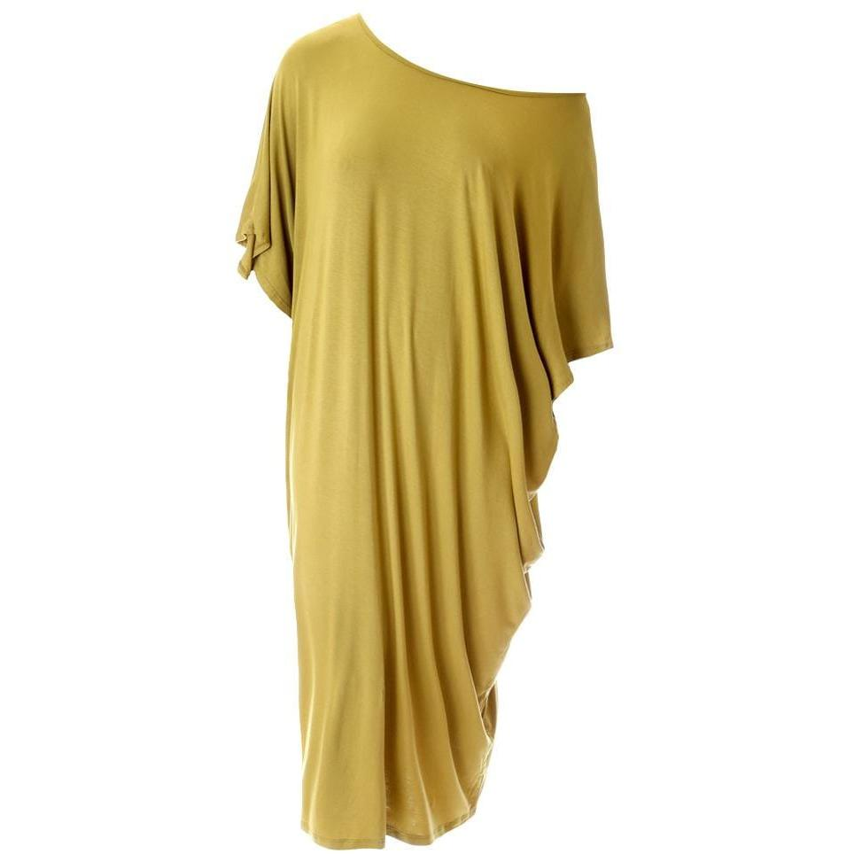 Plus Size Off Shoulder Bias Tunic, Citron