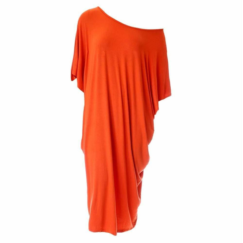 Posh Shoppe: Plus Size Off Shoulder Bias Tunic, Orange Dress